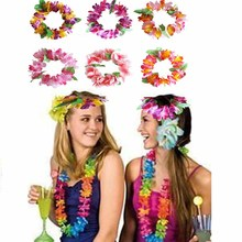 Luau Hawaiian leis Flowers Headband Headpiece for Summer Beach wedding Bachelorette hen Party team bride Bridesmaid Decoration