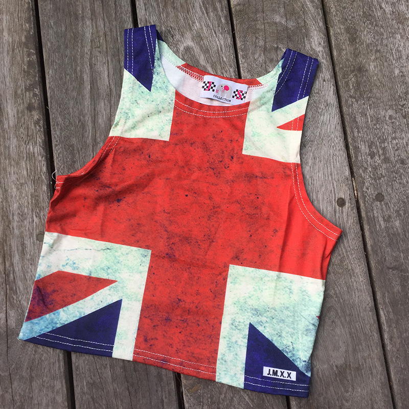 Women 39 s Sexy tank tops bralette 2019 Summer UK flag Prints shoulder straps bustier vest ladies Skinny halter top bralette Girls in Blouses amp Shirts from Women 39 s Clothing