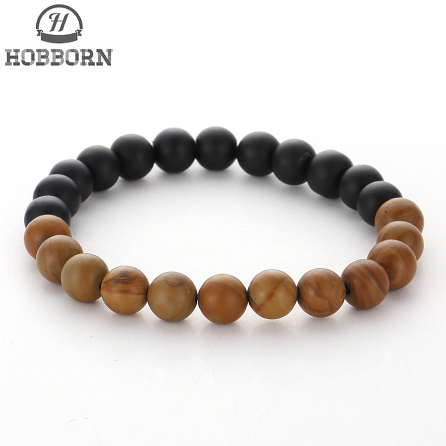 HOBBORN Trendy Men Natural Stone Beads Bracelet 8mm Matte Black Onyx Healing Reiki Prayer Balance Women Bracelets