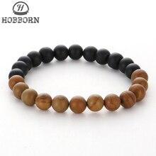 HOBBORN Trendy Men Natural Stone Beads Bracelet 8mm Matte Black Onyx Healing Reiki Prayer Balance Women Bracelets