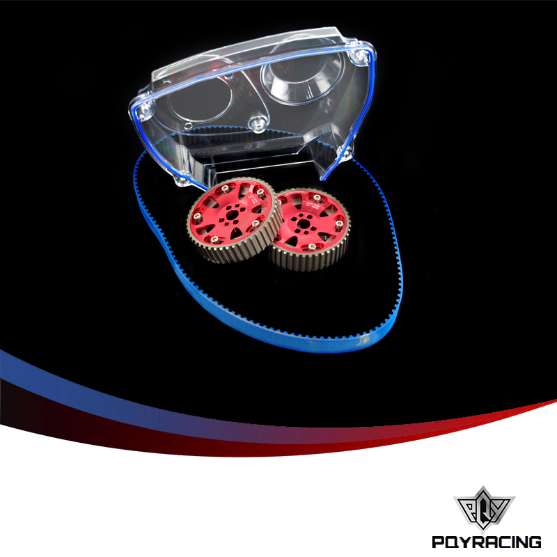 PQY RACING- HNBR Racing Timing Belt + Aluminum Cam Gear + Clear Cam Cover For NISSAN Skyline R32 R33 GTS RB25DET