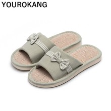 Bowknot Women Home Slippers Spring Autumn Female Flat Shoes Open Toe Indoor Floor Couple Flax Slippers Antiskid Linen Slippers summer slippers han edition in female household linen floor indoor slippers antiskid couples lovely cool men s slippers home