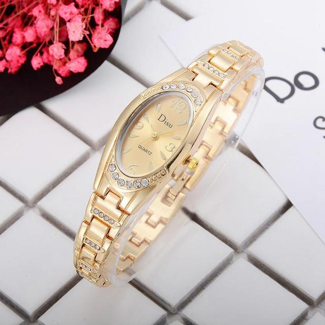 Disu Brand Watches Women Fashion Bracelet Watch Ellipse Luxury Gold Watch Women Female Quartz WristWatches Dress Watches relogio