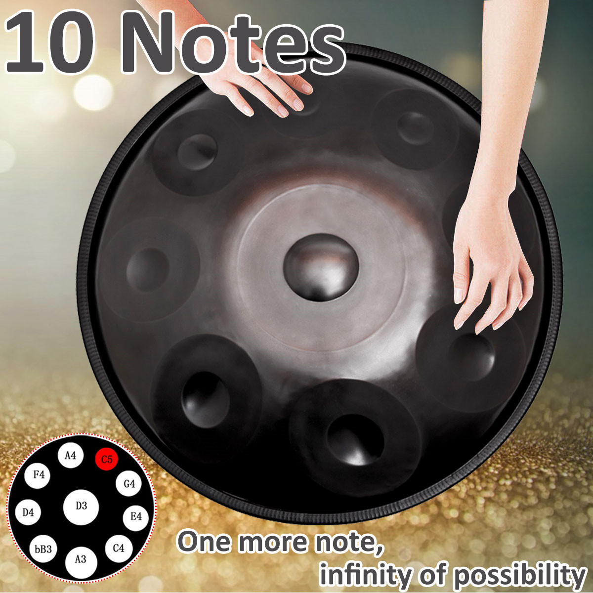 Mis à niveau 10 Notes à la main Handpan tambours Antique F majeur D mineur main tambour musique main pan tambours percussions Instruments de musique