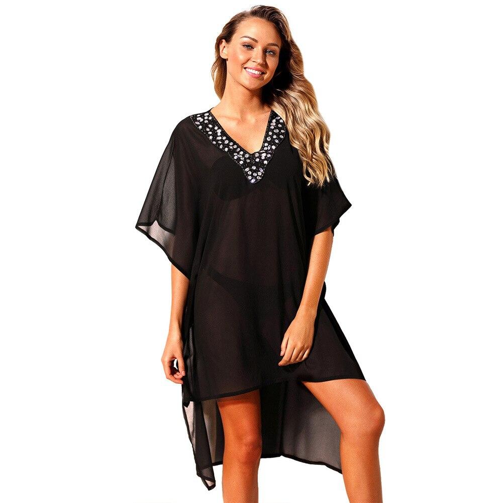 a5418faed7 Women 2018 Summer Rhinestone V Neck Sheer Beach Cover Up Beach Dress  Crochet Swimsuit Ladies Cover Ups Bathing Suit Beach Wear-in Cover-Ups from  Sports ...