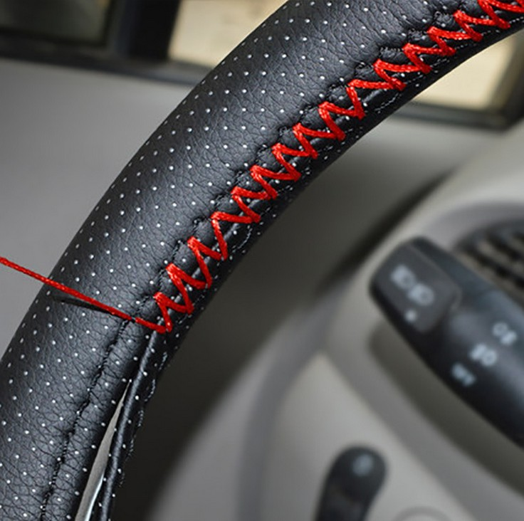 New Steering Wheel Covers/Extremely soft Leather braid on the steering-wheel of Car With ...
