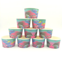10pcs/lot Trolls Theme Ice Cream Cups Baby Shower Party Supplies Bowl Favors