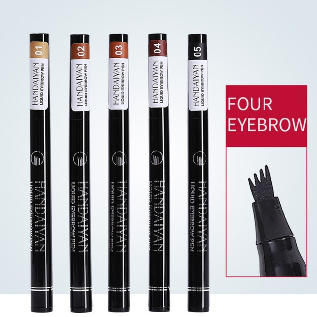 HANDAIYAN 1 unid lápiz de cejas 4 cabeza de cepillo líquido resistente al agua del tatuaje pluma de la ceja potenciador del tinte 4 Color maquillaje TSLM2