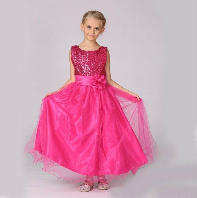 Online Shop 2018 Girl Princess shiny Ball Gown with flower belt baby ...