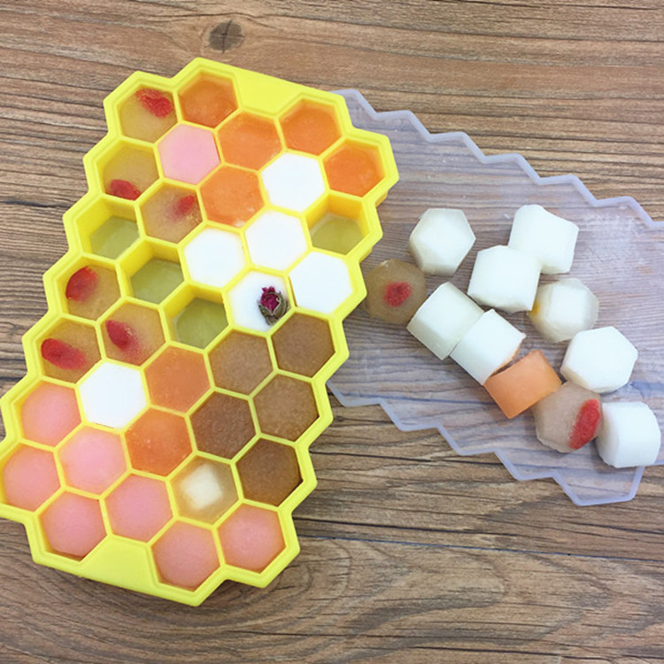 Honeycomb Shape Ice Cube 37 Cubes Ice Tray Ice Cube Mold Storage Containers mold ice mold in Ice Cream Makers from Home Garden