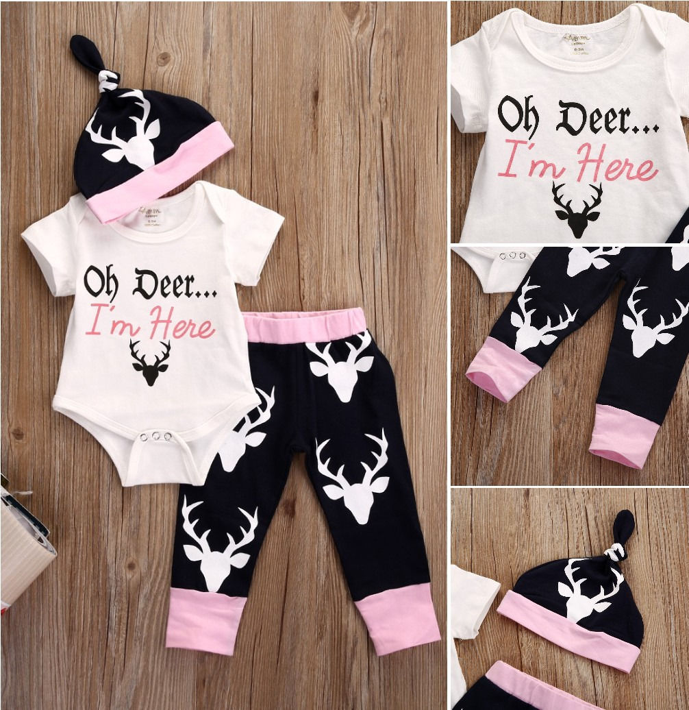 Newborn Baby Girls Clothes Tops Bodysuits +Deer Pants Leggings Cotton Hat Fashion Baby Girl Clothing Outfits Set Clothes 0-18M