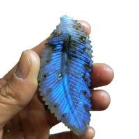 Natural Labradorite Leaf Pendant Quartz Crystal Necklace Reiki Healing Crystal Stone