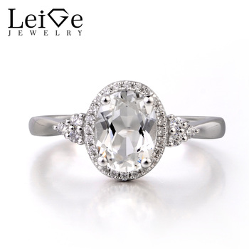 Leige Jewelry White Topaz Solid 925 Sterling Silver Ring Fine Gemstone Birthstone Oval Cut Engagement Wedding Ring for Her