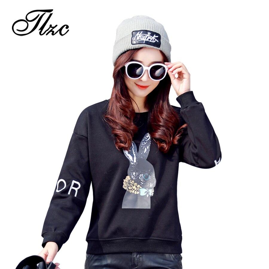 TLZC Cute Rabbit Printed Women Sweatshirts Plus Size M-4XL New Spring Fashion Design Black / White Lady Casual Tees