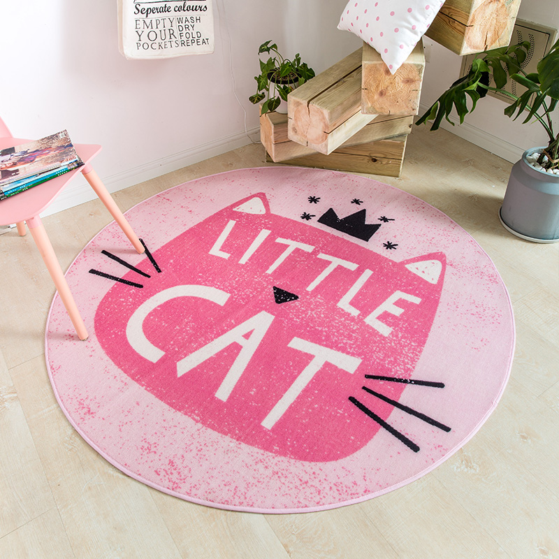 Honey pink cartoon cat round shaped carpet ,150*150cm kitty living ...
