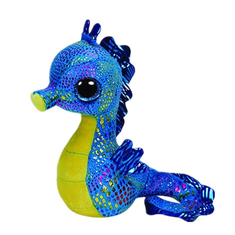 6'' 15cm Beanie Boos Neptune - Seahorse Babies Plush Stuffed Doll Toy Collectible Soft Big Eyes Hippos Plush Toys S50 ty beanie boos big eyes plush toy beanie babies kawaii pink rabbit plush doll stuffed animal baby christmas present birthday gif