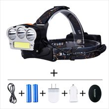 Newest Super Bright 7 mode CREE COB  Headlamp Waterproof Headlight With Rechargeable Battery AC/Car/USB Charger For Camping