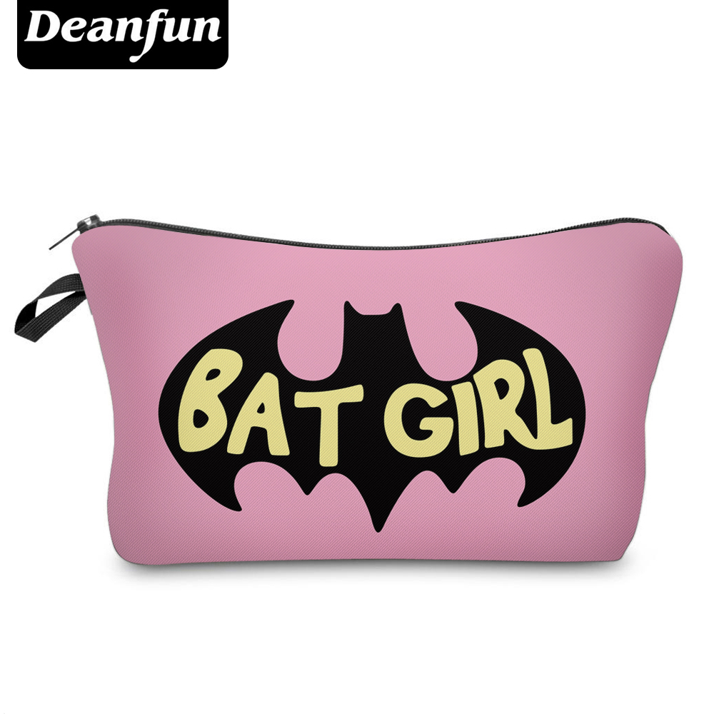 Deanfun Pink Cosmetic Bags 3D Printed Bat Pattern Character Girls Makeup Fashion Organizer Travelling Storage 50954