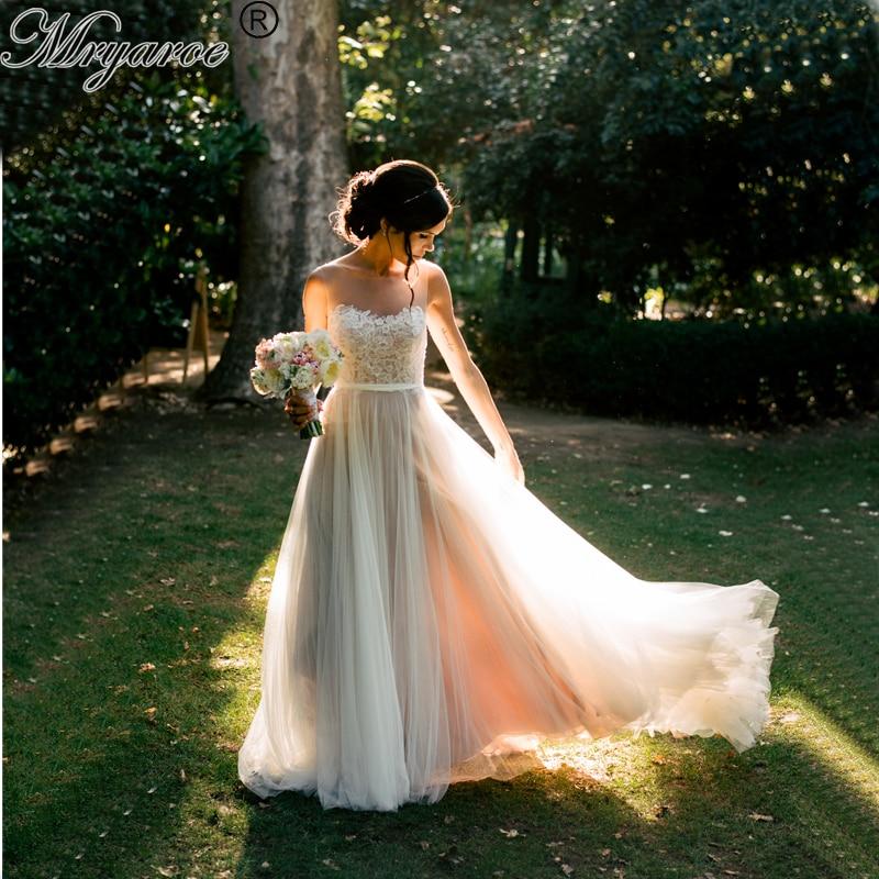 Mryarce Elegant Outdoor Bohemian Bridal Dress Illusion Neck Lace Appliqued A Line Flowy Tulle Rustic Garden Wedding Dresses