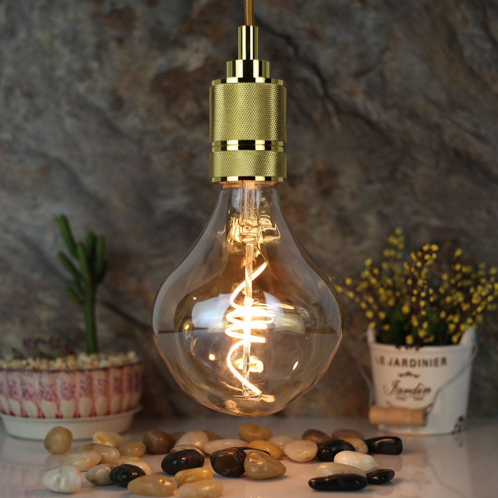 Glass Edison Lamp Us 15 99 20 Off Tianfan Specially Amber Glass G125 Edison Bulb Led E27 220v 4w Dimming Combustible Industrial Led Lamp Retro Holiday Lighting In Led
