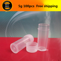 100PCS Free Shipping 5g 5ml Tablet Bottles Plastic Clear Pills Capsule Bottle With Screw Lid Small