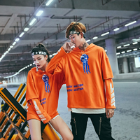Newest Fashion Orange Color Fake Two Pieces Men Women Casual Hoodies Sweatshirt Printed Trend Cotton Pullover