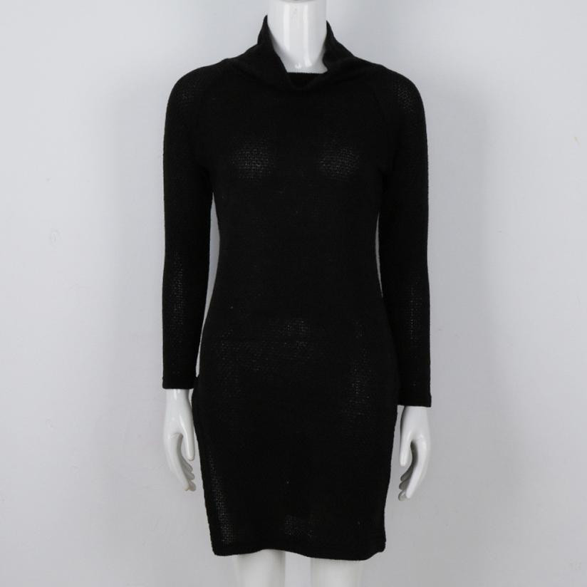 2017 New Women s Knitted Mini Dress Fashion Turtleneck Long Sleeve Bodycon Party Ladies Cocktail Short