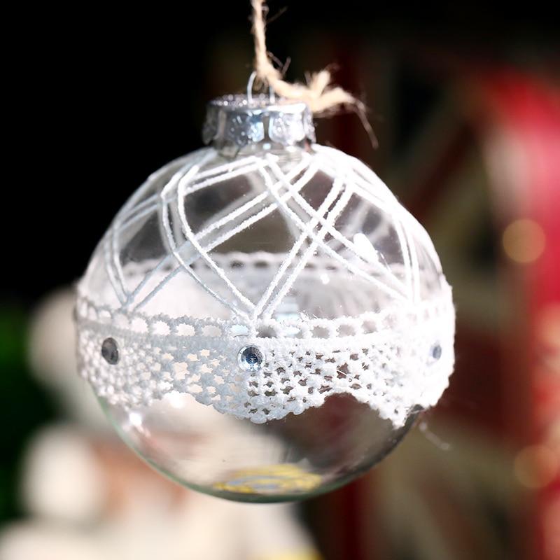 1 pc 80mm la main de couleur dessin grille transparent laciness boule de  verre vacances de noël arbre décoration 39ca9159706