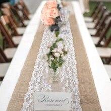 Wedding Party Lace Vintage Jute Table Runner Burlap Fabric for Burlap Chair Sashes Burlap Ribbon Wedding Decor Supplies 30*275cm