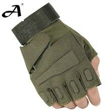 Ee.uu. militar de entrenamiento de las fuerzas especiales guantes tácticos exterior lucha de combate negro antideslizante dedo medio guantes guantes