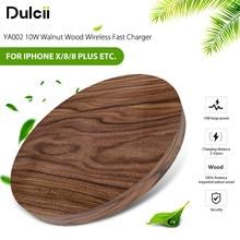 DULCII YA002 10W Walnut Wood Wireless Fast Charger Qi Wireless Charging Pad for iPhone X/8/8 Plus Samsung Galaxy S8 S8 Plus etc.