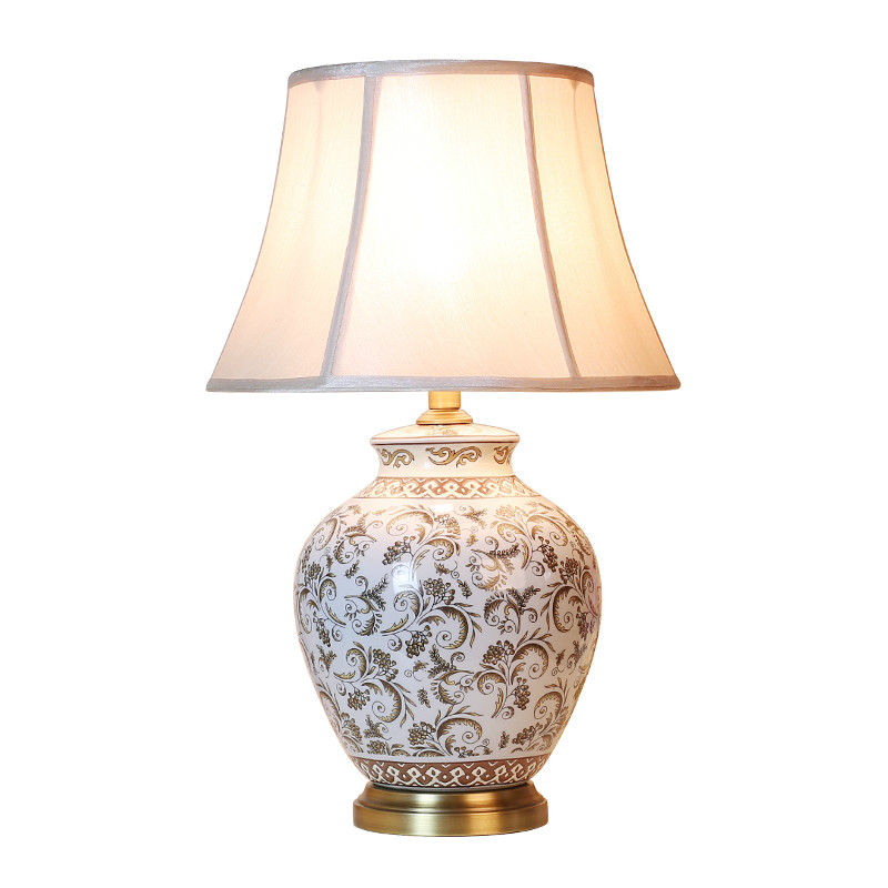 Classical Rural Chinese Ceramic Fabric E27 Table Lamp