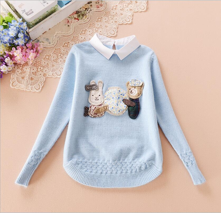 Hem Knit Flowers New Design Button Behind Collar Pullover Knitted Sweater Character Threaded cuff woven flowers