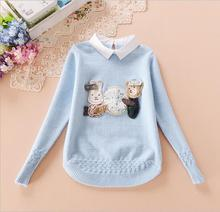 Hem Knit Flowers New Design  Button Behind Collar  Pullover Knitted Sweater Character Threaded cuff woven flowers For Girl S0102