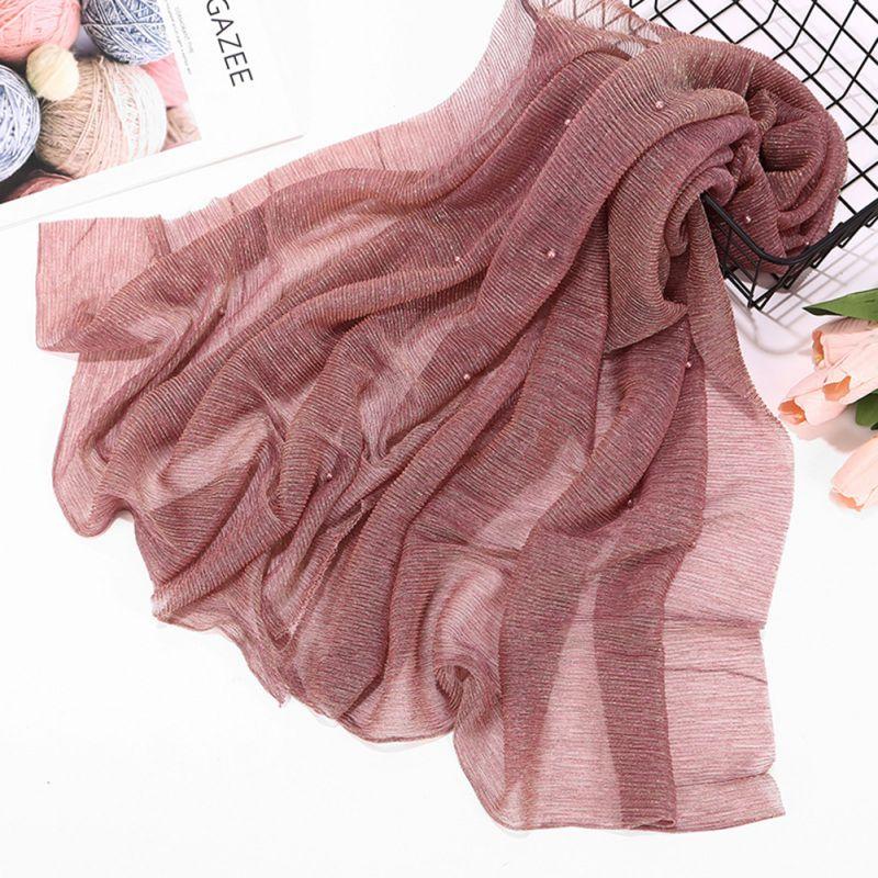 Shiny Sparkling Elastic Yarn Pearls Muslim Hijabs Woman Shawl Wrap Hijab Scarf Wrinkle Head Scarf