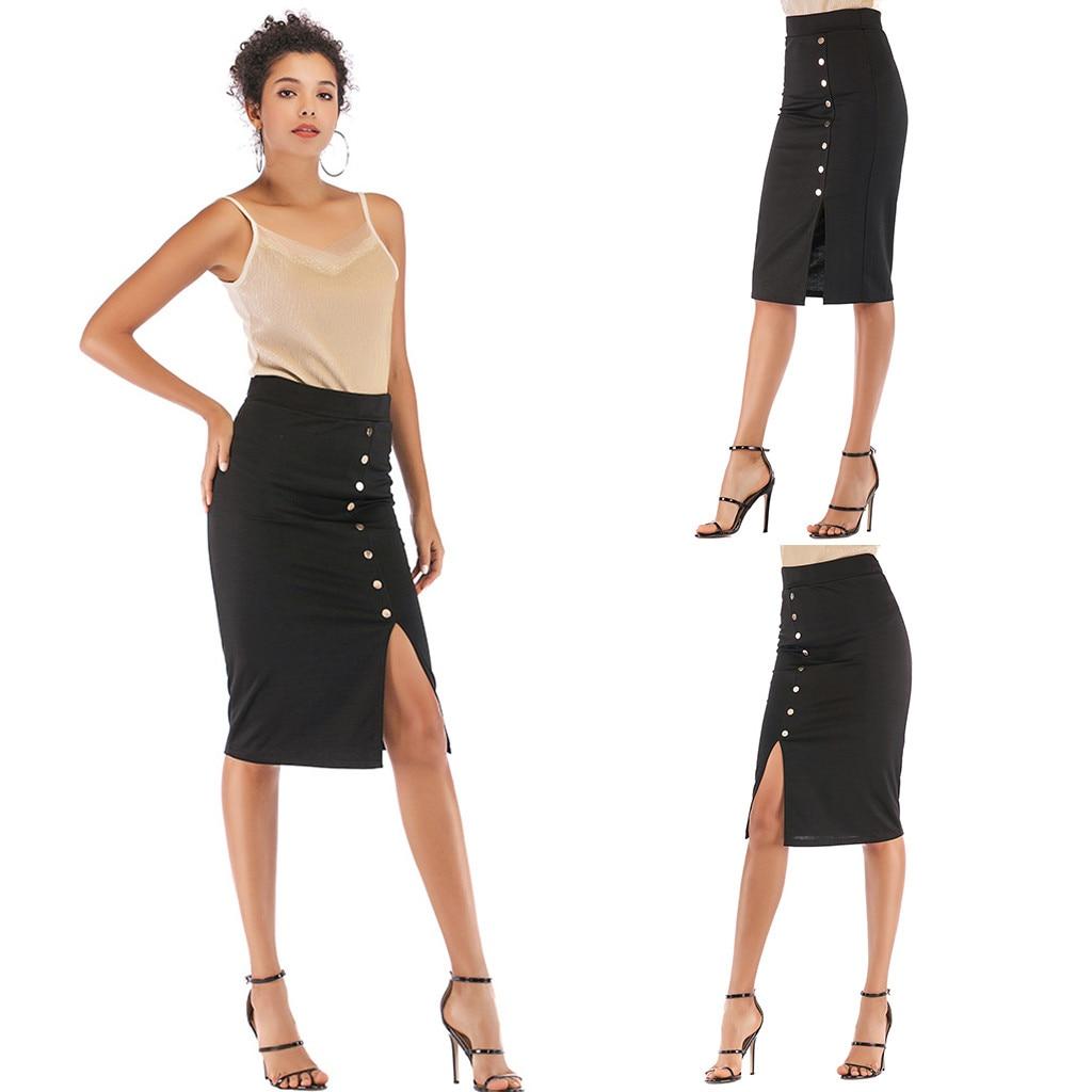2020 Casual Fashion Women's High Waist Elastic Bag Hip Skirt Single-Breasted Skirt Skirt Long Formal Office Pencil Skirt 50