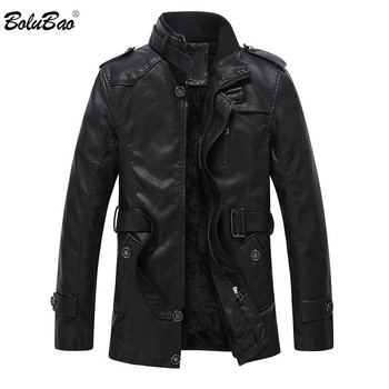 BOLUBAO Winter Leather Suede Jacket Men Fashion Brand Black Thick Liner  Fleece Lined Male Leather PU Jackets Outerwear