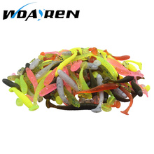 50Pcs/Lot Artificial Soft Worm Swimbaits Fishing Lure 0.7g 4.9cm Fly Fishing lure Soft silicone bait fishing lure 7 colors