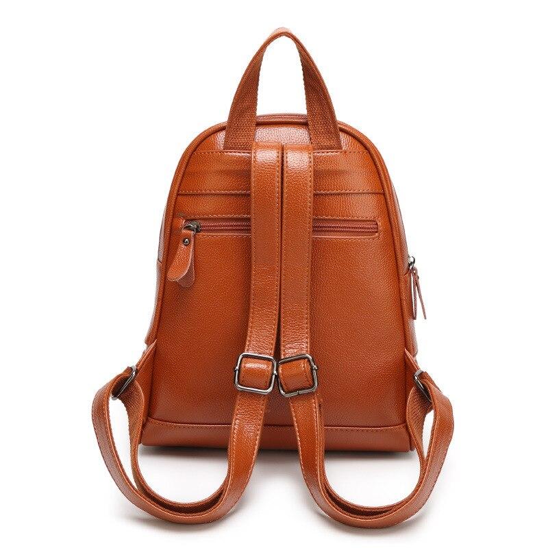 4f17de448d Brand Women Designer Rivets Genuine Leather Backpack 4 Colors Vintage High  Quality Girls School Rucksack Ladies Best Back Pack
