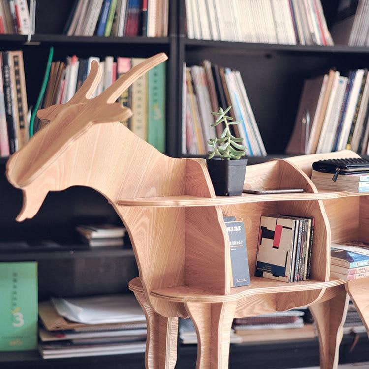 """Rak buku gaya kambing berukuran tinggi 46.8 """"perabot hiasan rumah perabot teka-teki buatan sendiri"""
