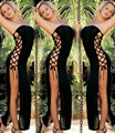 2016 sexy lingerie hot black wrapped long dress fantasias sexy erotic lingerie  skirt sexy costumes underwear for women YZ48