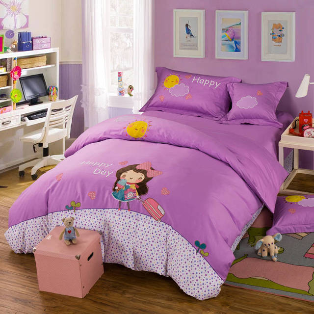 Cute Purple Girls Pattern Applique Embroidered Bedding Sets Twin