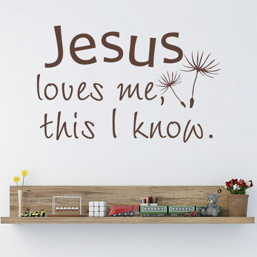 Jesus Loves Me This I Know Bible Verse Vinyl Wall Decal Christian Home Decor For Nursery Kid