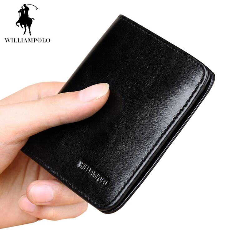 Williampolo Men wallets Business Genuine Leather Men Cion Purse Ultrathin Multi Card Wallet williampolo 2017 card wallet men 10 card slots genuine leather button closure fashion long men wallet polo174