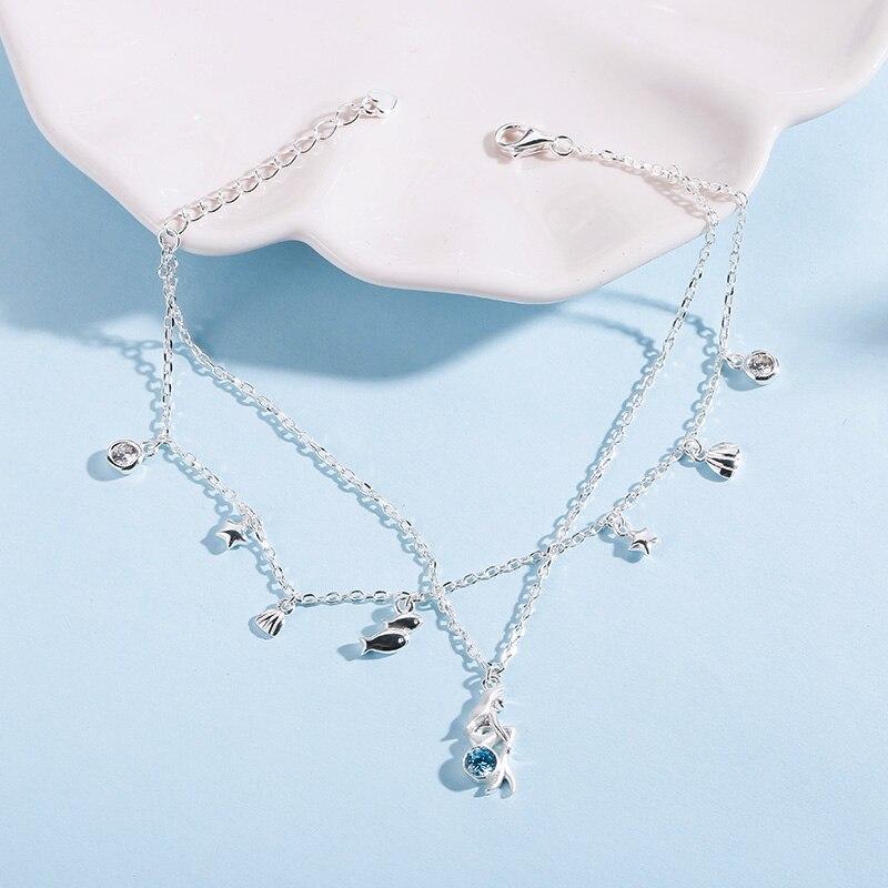 c112426630fd Sa silverage pulsera plata Pulsera del encanto de la sirena mar estilo de diseño  para las mujeres genuino 925 plata esterlina joyería regalo en Pulseras y  ...