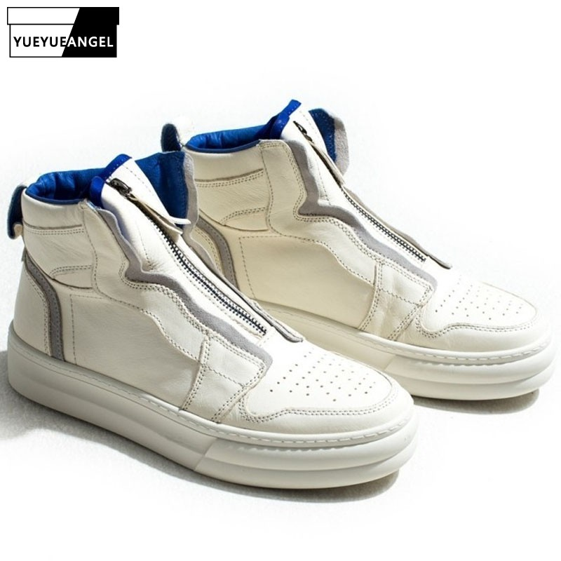 2019 New Fashion Mens High Top Trainers Genuine Leather Shoes White Zip Casual Flats Harajuku Male Hip Hop Luxury Brand Sneakers
