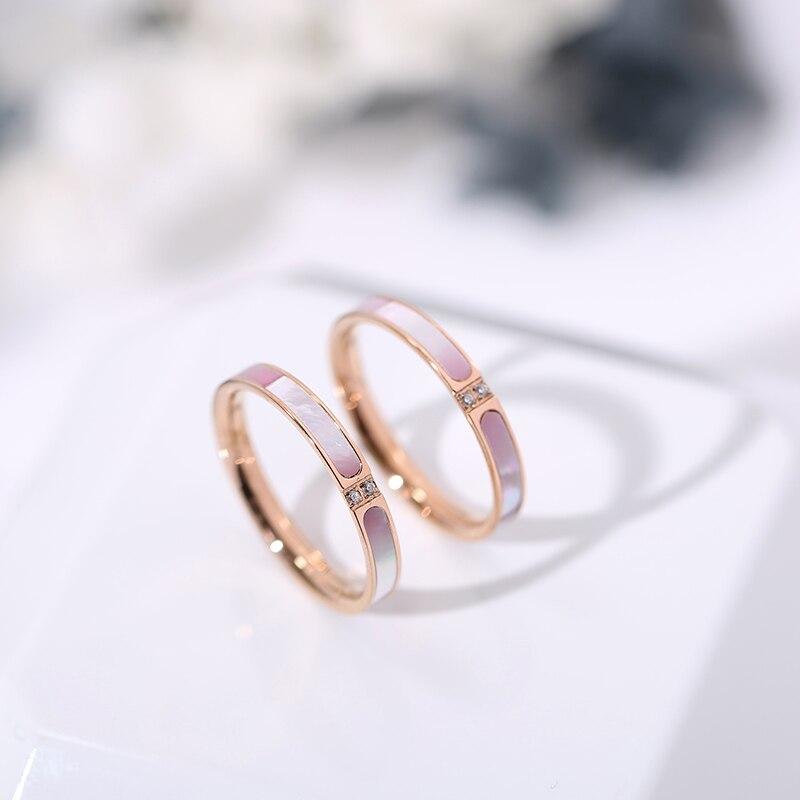 YUN RUO 2019 модное розовое кольцо из циркония в форме ракушки, двойная Роза, подарок на день рождения вечерние велирные изделия из титановой ста...