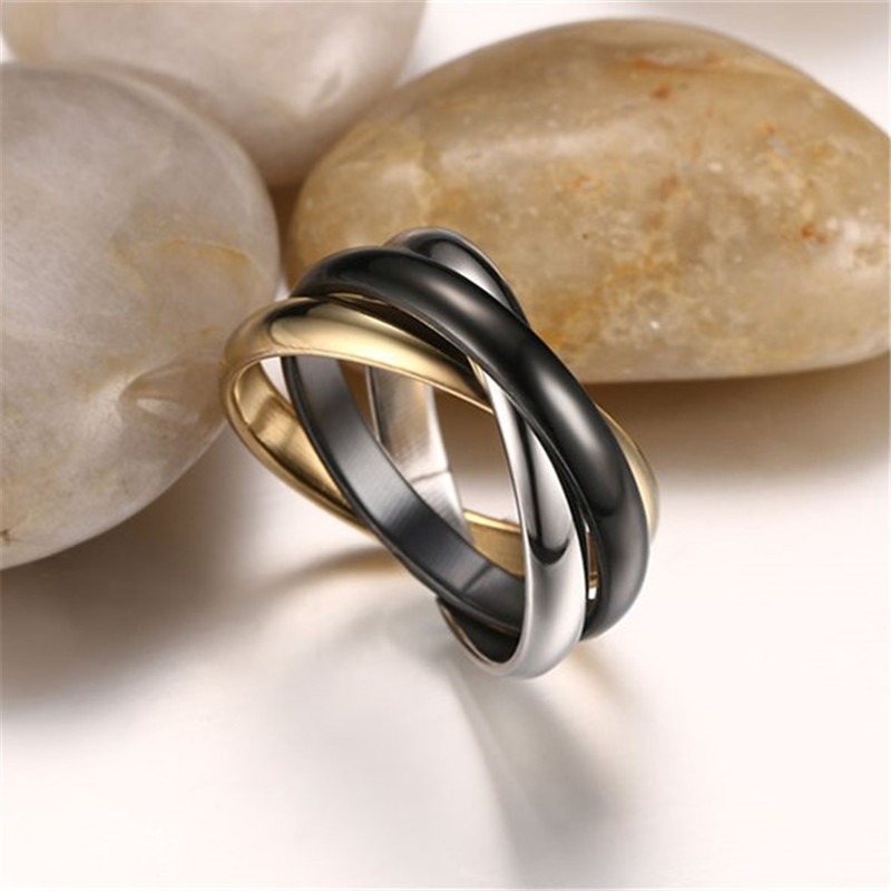 Hip Hop For Classic tricolor combination ring Titanium steel 3mm three ring Women Men Jewelry Dropshipping 5 10Size in Rings from Jewelry Accessories