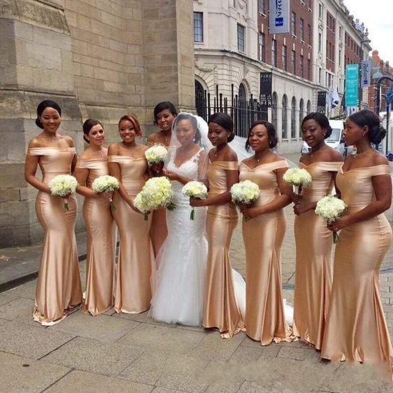 Holievery hors épaule Satin sirène demoiselles d'honneur robes pour les femmes 2019 or robe de soirée de mariage robe demoiselle