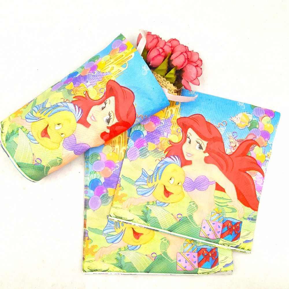 Little Mermaid Tema Perlengkapan Pesta Dekorasi Nikmat Anak-anak Disposable Taplak Meja Piala Piring Serbet Hadiah Baby Shower Dewasa Hadiah